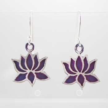Lotus Flower Dangle Earrings in Sterling Silver with Patina Finish, #9129
