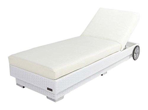 Outflexx Möbel Einzelliege Base Polyrattan w29, weiß / elfenbein