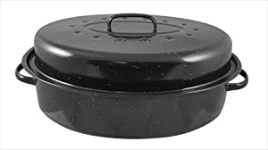 HDS TRADING Non-Stick Carbon Steel Roaster with Lid, 15-Inch, Black