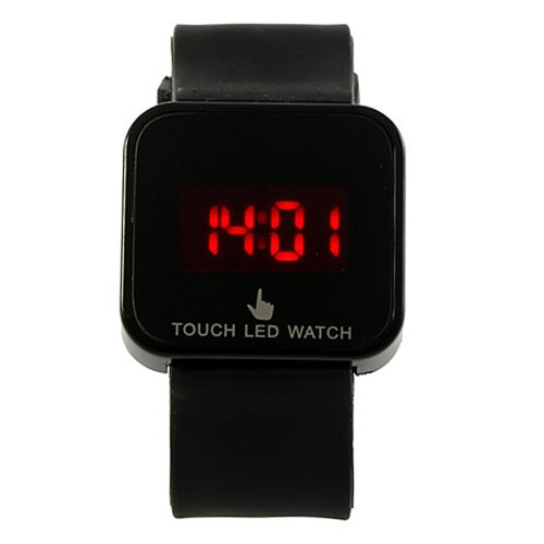 Colorful Unisex Led Digital Touch Screen Silicone Wrist Watch Black