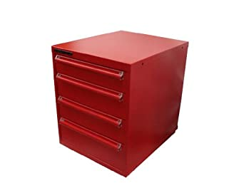 """Equipto 4263H Steel Modular Drawer Cabinet, 200 lbs Drawer Capacity, 22-1/2"""" W x 29"""" H x 27-3/4"""" D, Textured Red, Four Drawers: One 4-1/2"""" H, Two 6"""" H, One 7-1/2"""" H with H Type Dividers"""