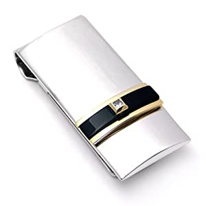 Dolan Bullock Sterling Silver 14K Gold Onyx Diamond Money Clip