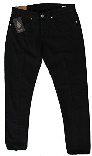 Dondup Pantalone Uomo George Nero 5 Tasche (35, nero)