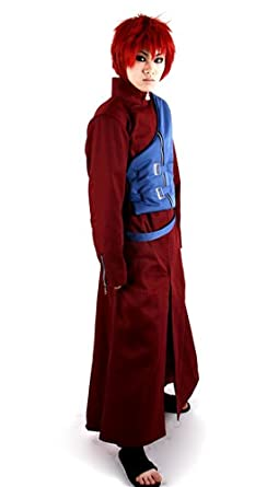 Miccostume Men's Naruto Gaara Cosplay Costume Small Red