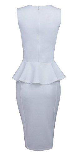 Made2envy Bodycon Midi Peplum Dress with Square Neckli (XL, White) C6150-1XL