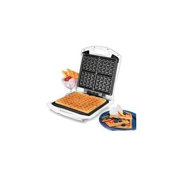 This family-sized Proctor-Silex Belgian Waffle Baker quickly and easily makes four square waffles at once. It features easy-clean, nonstick grids and Power and Preheat Lights. Stores upright to save space. New part# - was 26050HB.