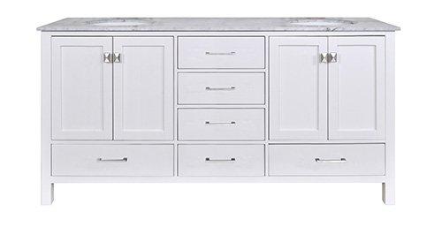 Stufurhome Gm-6412-72Pw-Cr 72-Inch Malibu Pure White Double Sink Bathroom Vanity