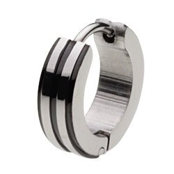 [Cenote] cenote e5014k [pierced stainless steel Accessories: stainless steel piercing black hoop earrings mens