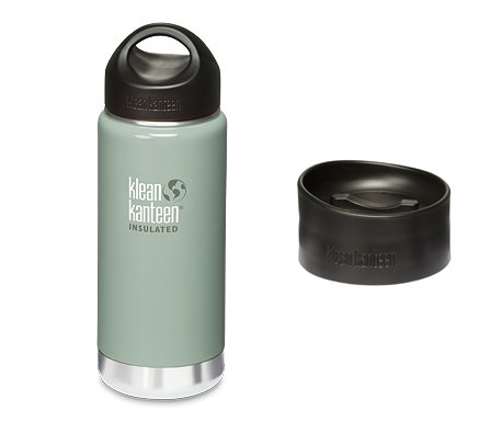 Klean Kanteen Coffee Set Wide Mouth Insulated Bottle With 2 Caps (Stainless Loop Cap And Cafe Cap) - River Rock - 16Oz front-943314