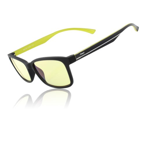 DUCO New Design Video Gaming Glasses with Amber Tint Lens TR90 Arms Inner Yellow legs 224