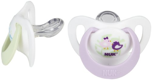 Nuk Newborn Orthodontic Silicone Pacifier - Size 0 - 2 Pk - Girl - 1