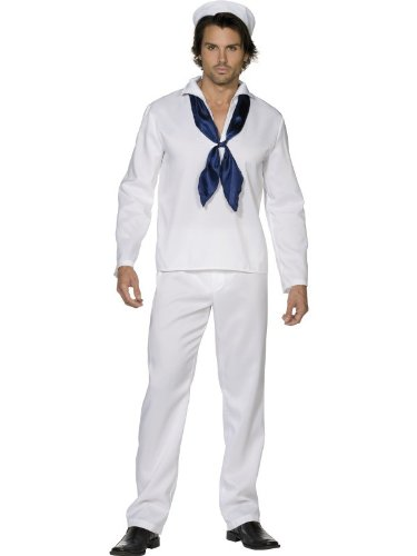"Smiffys Men's White/Blue Fever Sailor Man Costume - Chest 42""-44"", Leg Inseam 33"""