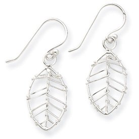 Sterling Silver Polished Wire Leaf Dangle Earrings