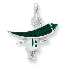 Genuine IceCarats Designer Jewelry Gift Sterling Silver Enameled Green Chili Pepper Person Charm