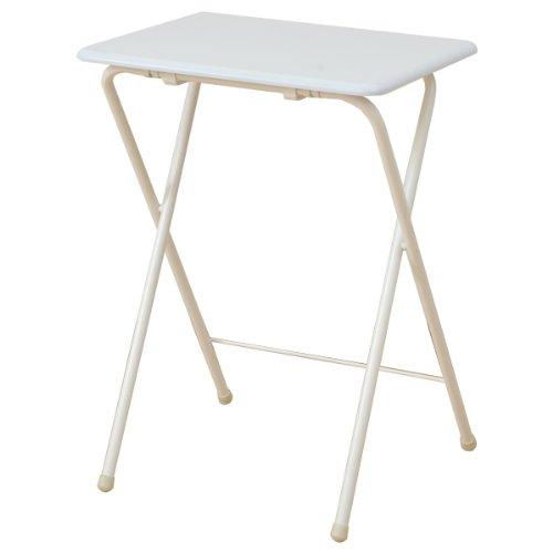 山善(YAMAZEN) 折りたたみミニテーブル(ハイ) ホワイト YST-5040H(WH/WH)