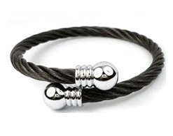 Stainless Steel Black and Silver Wire Effect Torque Bangle - One Size Fits All (Suitable for a wrist measuring appx 5.8
