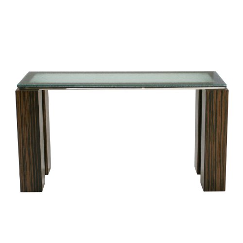 Image of 55 Inch Zebrano Console Table with Crackled Glass Top and Stainless Steel Apron by Diamond Sofa (11020-CS01)
