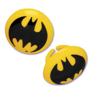Cheap Batman Symbol Cupcake Party Rings (12)