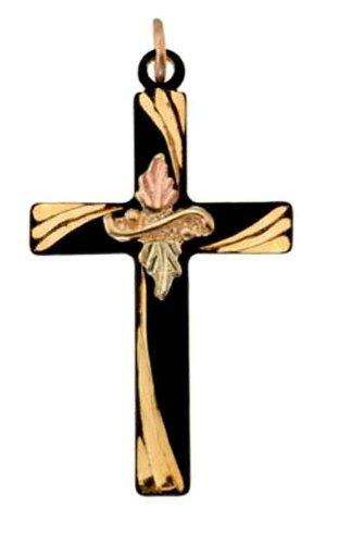 Stamper 12K Black Hills Solid Gold on Black Powder Coat Cross Necklace. C1599