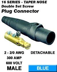 Leviton 16D22-B Single Pole Cam Type Plug Detachable Male Double Set Screw Complete 16 Series Taper Nose 2-2/0 Awg 300 Amp - Blue (Pkg Of 10)