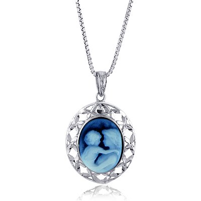 Sterling Silver Oval Frame 14X10mm Blue Agate Mother and Baby Cameo Pendant w/22″ Adjustable Chain