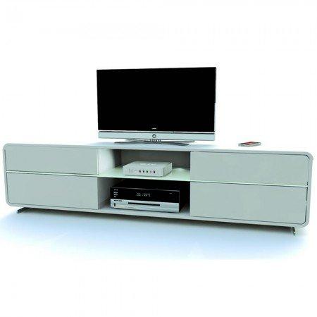 Jahnke CU-CURVE M 18,2 LED HG-WS TV-LCD-Möbel, E1-Holzwerkstoffplatten, beschichtet und lackiert, ESG-Sicherheitsglas, Metall, hochglanz / weiß, 175 x 40 x 44 cm