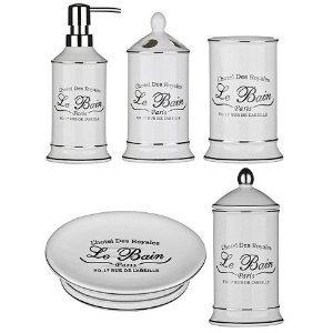 Le Bain 5 pcs Pieces Bathroom Accessories Set White Stoneware New