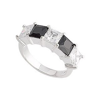Sterling Silver Black and White CZ Eternity Ring - Band Width 2.5 mm. Setting 25mm x 6mm.