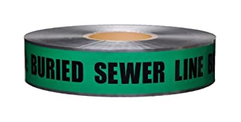 "Presco D2105G4-658 1000' Length x 2"" Width, Green with Black Ink Detectable Underground Warning Tape, Legend ""Caution Buried Sewer Line Below"" (Pack of 12)"