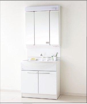 パナソニック 洗面化粧台 エムライン 幅750タイプ ホワイト ミラー:蛍光灯3面鏡 GQM75KSCW   GQM75K3SMK 洗面台 ミラー