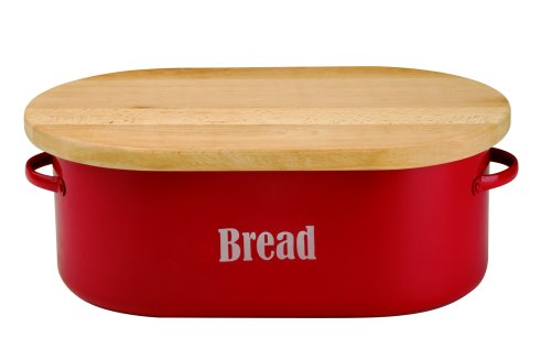 Typhoon Bread Bin With Wood Lid - Red