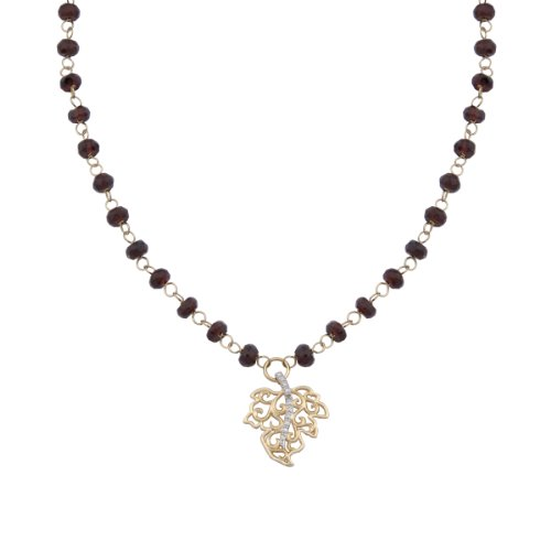 18k Yellow Gold Plated Sterling Silver Genuine Garnet with Diamond Accent Beaded with Leaf Necklace, 16