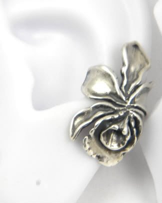 Sterling Silver ORCHID EAR CUFF Handcrafted Flower