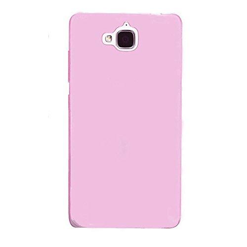Lusee® Silikon Hülle für Huawei Ascend G620S TPU Schutzhülle transparent pink