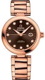 Omega De Ville Ladymatic Brown Dial 18kt Rose Gold Diamond Ladies Watch 42560342063001
