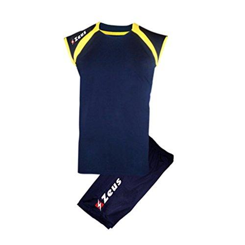 Kit Fly Zeus Blu-Giallo Calcio Uomo Donna Calcio Jogging Calcetto Muta Torneo Scuola Sport (L)