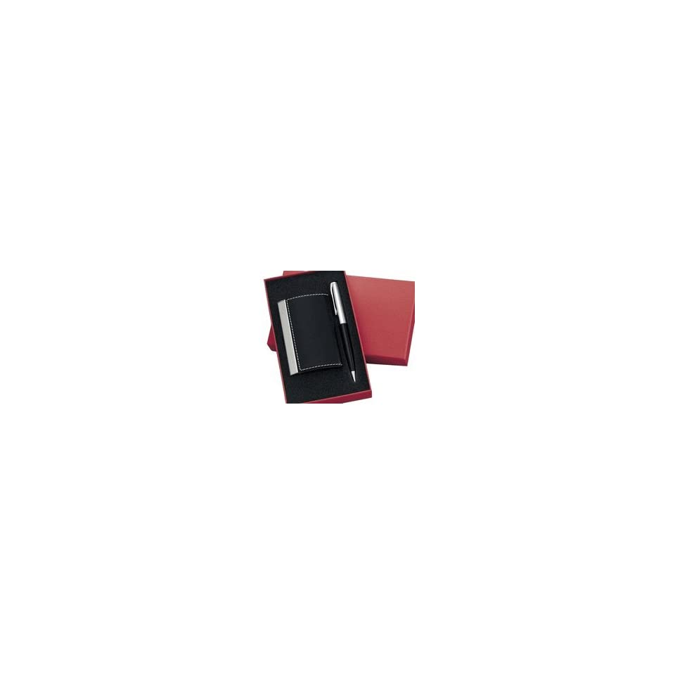 Engraved Personalized Black Business Card Holder & Ballpoint Pen Gift Set