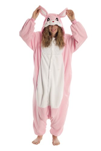 Kigs Adult Rabbit Costume - Kigurumi Onesie Pyjamas; One Size (Bunny Onesies For Adults)