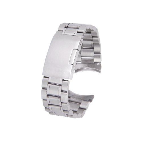 Silber massiv Edelstahl Links Uhrenarmband Strap gebogene Ende Faltschließe 20 mm