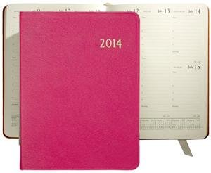 2014 Brights PINK fine Leather 9'' Desk Diary by Graphic Image - 7x9