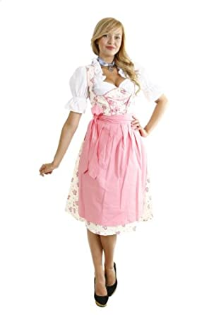 dirndl set rosa weiss gebl mt 3 tlg kleid bluse und sch rze bekleidung. Black Bedroom Furniture Sets. Home Design Ideas