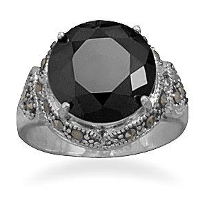 Sterling Silver Black CZ and Marcasite Ring / Size 9