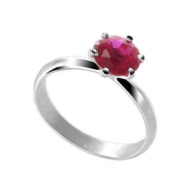 Sterling Silver Round Ruby Cubic Zirconia Solitaire Promise Ring Size 5