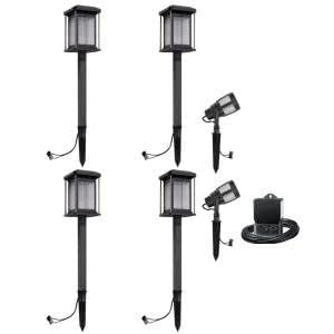 Malibu Lighting 8418290606 Malibu Landscape Lighting, Low Voltage LED Prominence Path amp; Spot Light Kit Gun Metal Gray (6 Pack)