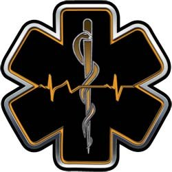 Orange EMT EMS Star Of Life With Heartbeat - 6