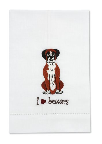 Rescue Me Now Boxer Tea Towel, 11 By 7-Inch, Embroidered front-460783