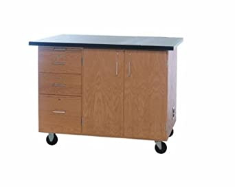 "Diversified Woodcrafts 4332KF Solid Oak Wood Mobile Instructor's Desk with Storage, Flat ChemGuard Top, 36"" Width x 84"" Height x 16"" Depth"