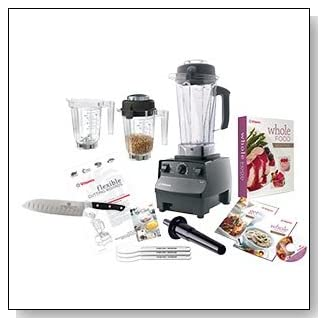 Vitamix 5200 Ultimate Package with Santoku Knife, Getting Started Guide, DVD, Whole Food Recipes Cookbook and Whole Grains Cookbook