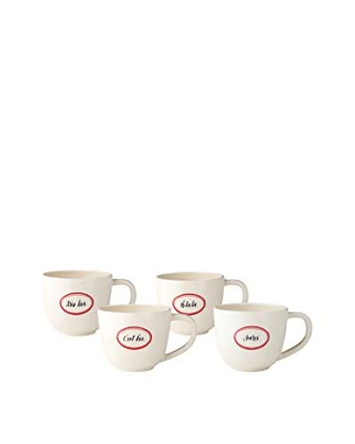 Rae Dunn by Magenta Set of 4 French Latte Mugs, White