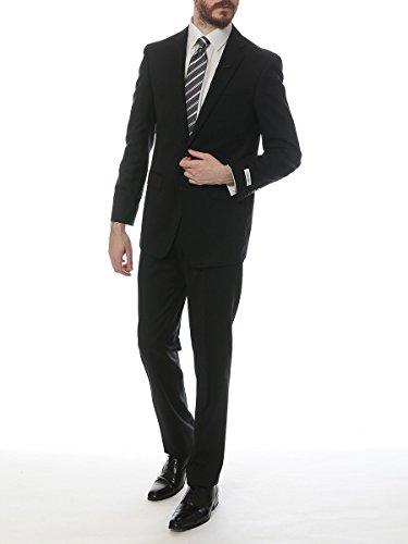 (カルバンクライン) Calvin Klein ウール100% シャドーストライプ シングル 2ツ釦 ノータック スーツ [【CKMBRY25FY0341】] ブラック / 50 [並行輸入品]